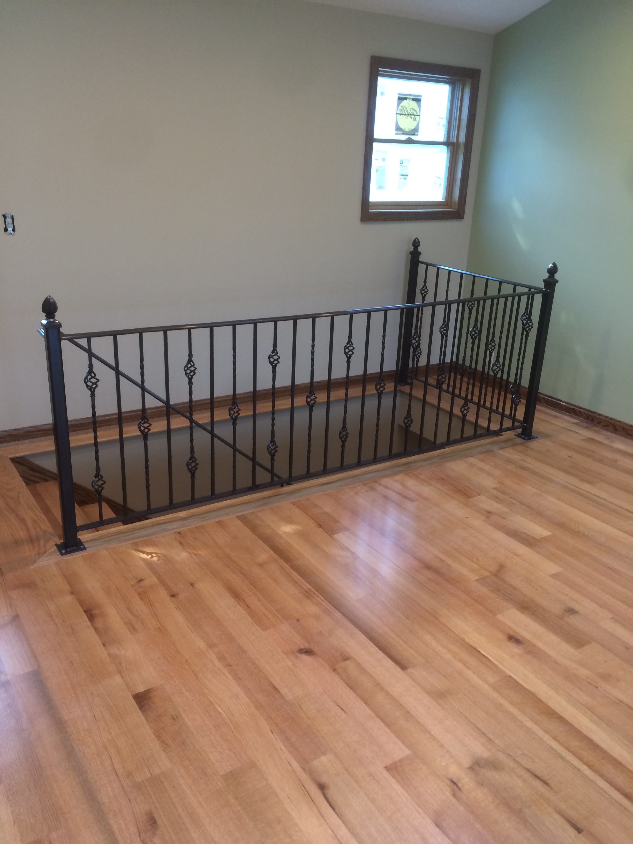Hand Made Wrought Iron Railing For The Living Room, And A Wall Mount Railing  For Going Down The Steps. Dark Bronze Powder Coat Finish